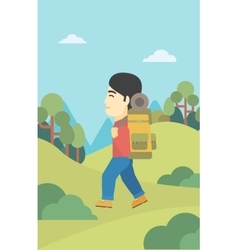 Man with backpack hiking vector