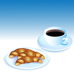 a Cup of coffee and croissants vector image