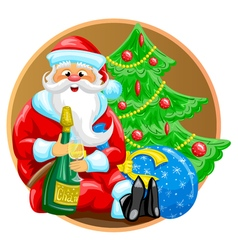 Santa with bottle vector image
