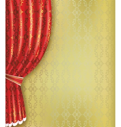 Golden background with red curtain and pattern vector