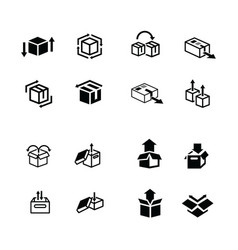 Set of box and arrow icons vector