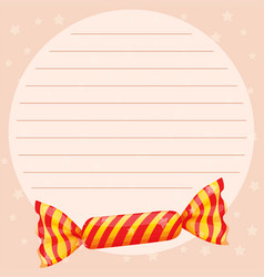 line paper template with sweet candy vector image