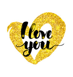 i love you handwritten inscription vector image