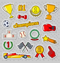 Champions doodle with medals prize vector