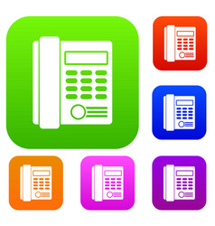 office business keypad phone set collection vector image