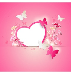 Valentine background with paper heart vector image