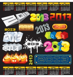2013 year 3d titles logos labels vector image vector image