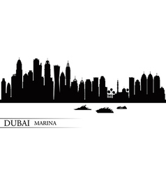 Dubai Marina City skyline silhouette background vector image
