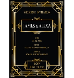 Art deco gatsby wedding invite vector