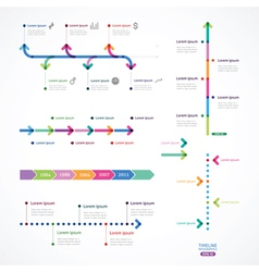 Set of time line from color arrows vector