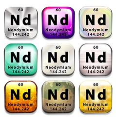 A button with the chemical element neodymium vector