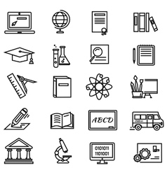 Lines education icons on white background vector