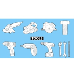 Tools on blue vector
