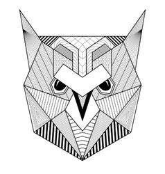 Hand drawn zentangle artistic owl bird for adult vector