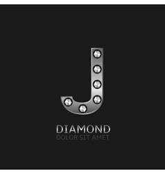 Silver j letter vector