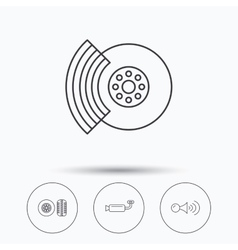 Tire tread brakes and steering wheel icons vector
