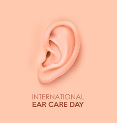 Background with realistic human ear closeup vector
