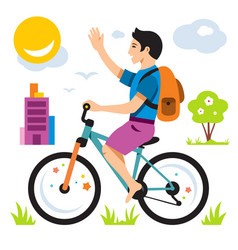 boy on bike flat style colorful cartoon vector image vector image