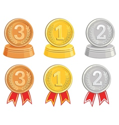 BronzeGold and Silver medalsawards vector image vector image