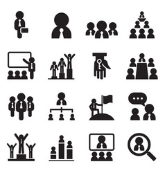 business management teamwork icons set vector image