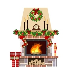 Christmas fireplace Xmas decoreated room vector image vector image