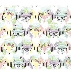 Cute little fox seamless pattern vector
