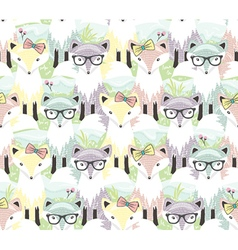 Cute little fox seamless pattern vector image