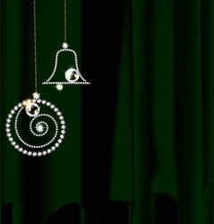 Drape with jewel christmas decoration vector