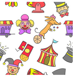 Element circus various cute doodles vector