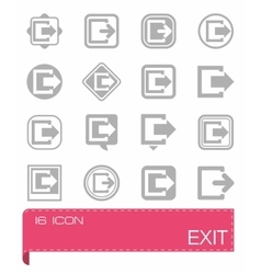 Exit icon set vector
