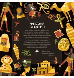 Flat design egypt travel postcard with famous vector