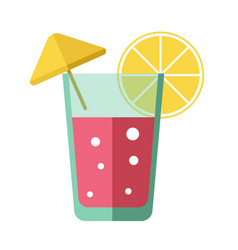 Fresh pink cocktail with lemon slice and yellow vector