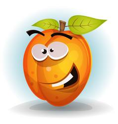 funny apricot fruit character vector image vector image