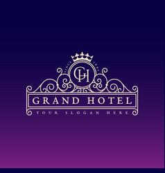 grand hotel label vector image vector image