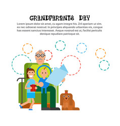 grandfather reeding to grandchildren happy vector image