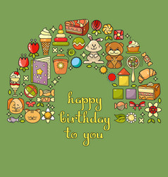 Happy birthday card with childrens icon set - toys vector