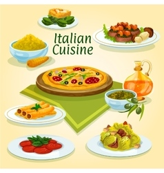 Italian cuisine national dishes for menu design vector