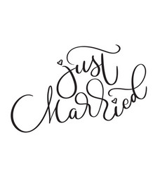 just married text on white background hand drawn vector image