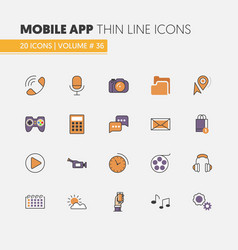Mobile application linear thin line icons vector
