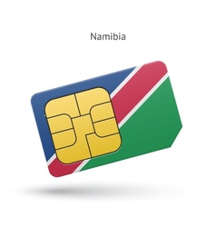 Namibia mobile phone sim card with flag vector