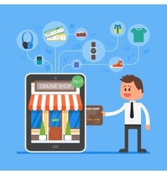 Online mobile shopping concept vector