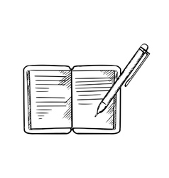 Open notebook with pen sketch image vector
