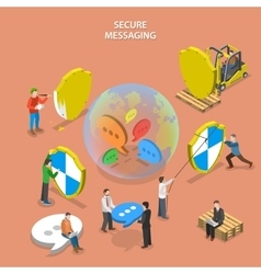 Secure messaging isometric flat concept vector