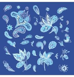 Set of blue ethnic design elements vector