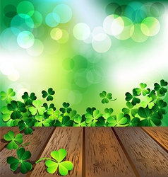 Shamrock on wooden floor for St Patricks Day card vector image vector image