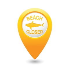 Shark sighting sign on yellow map pointer vector