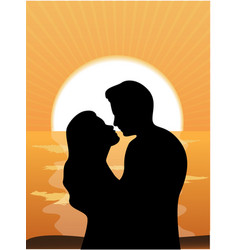 silhouettes of loving couple at sunset vector image