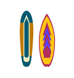 surfboards colorful surfing equipment with trendy vector image vector image