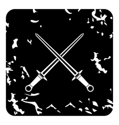 Two combat sword icon grunge style vector