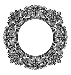 Vintage baroque round frame decor detailed vector